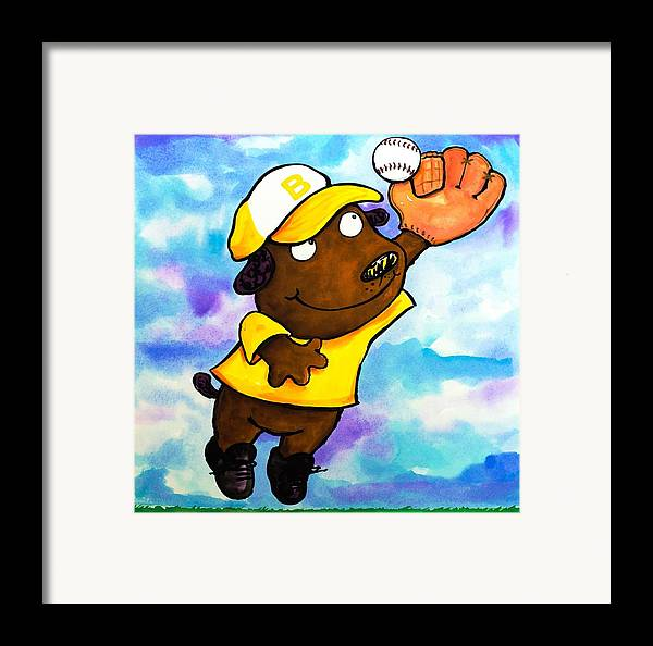 Dog Framed Print featuring the painting Baseball Dog 4 by Scott Nelson