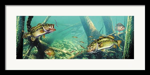 Jon Q Wright Framed Print featuring the painting Bass Lake by JQ Licensing