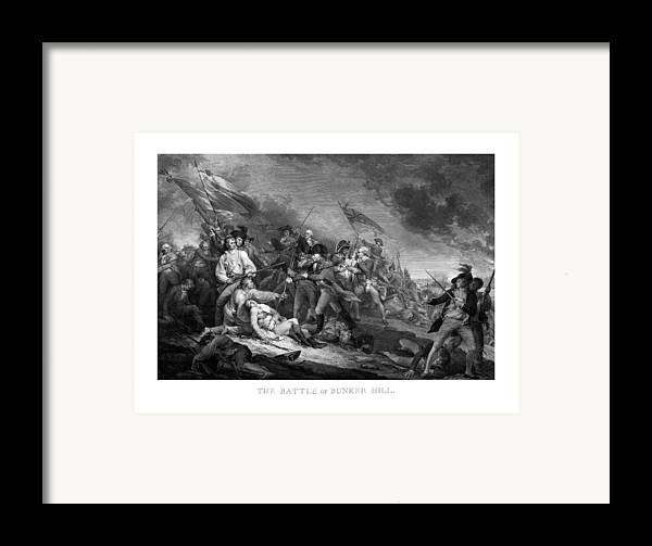 Revolutionary War Framed Print featuring the drawing Battle Of Bunker Hill by War Is Hell Store