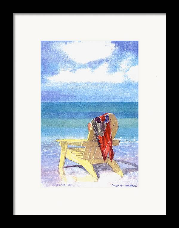 Beach Framed Print featuring the painting Beach Chair by Shawn McLoughlin