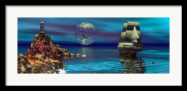 Bryce 3d Scifi Fantasy  Dolphin tall Ship Windjammer \sailing Ship\ Sailing Framed Print featuring the digital art Beacon Of Hope by Claude McCoy