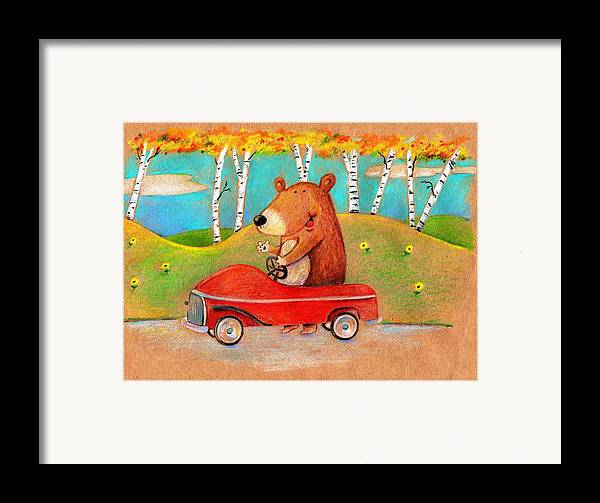 Bear Framed Print featuring the drawing Bear Out For A Drive by Scott Nelson