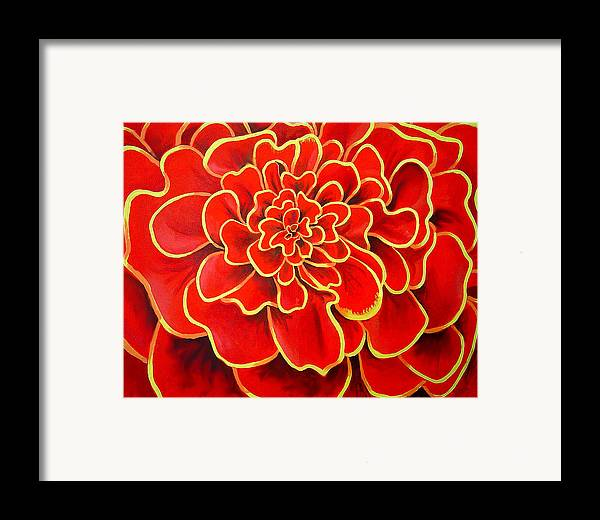 Diptych Framed Print featuring the painting Big Red Flower by Geoff Greene