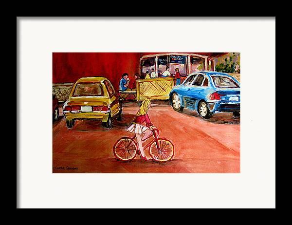 Orange Julep Framed Print featuring the painting Biking To The Orange Julep by Carole Spandau