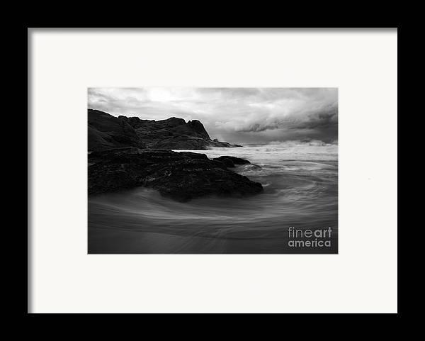 Beach Framed Print featuring the photograph Black Rock Swirl by Mike Dawson