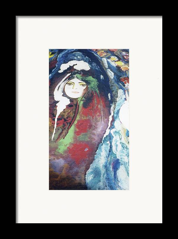 Table Framed Print featuring the painting Black Table by Sima Amid Wewetzer