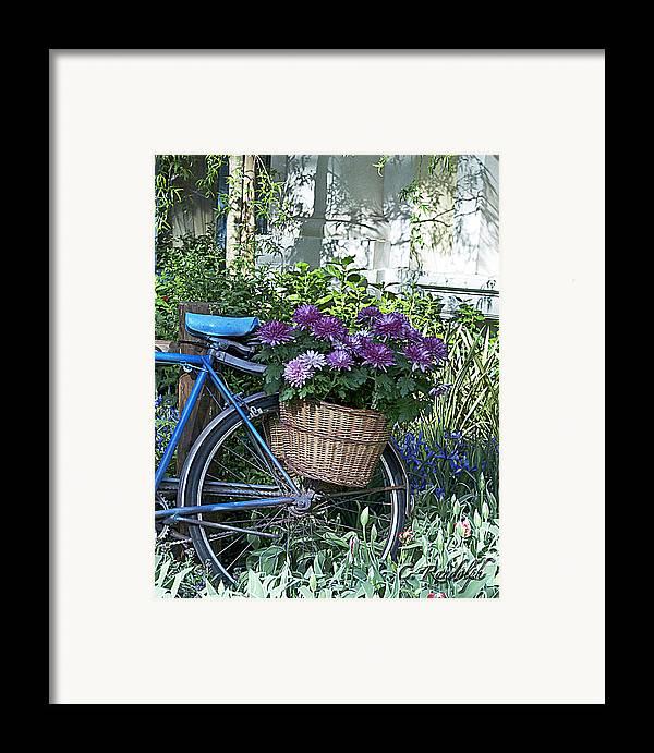 Blue Bike Framed Print featuring the photograph Blue Bike by Cheri Randolph