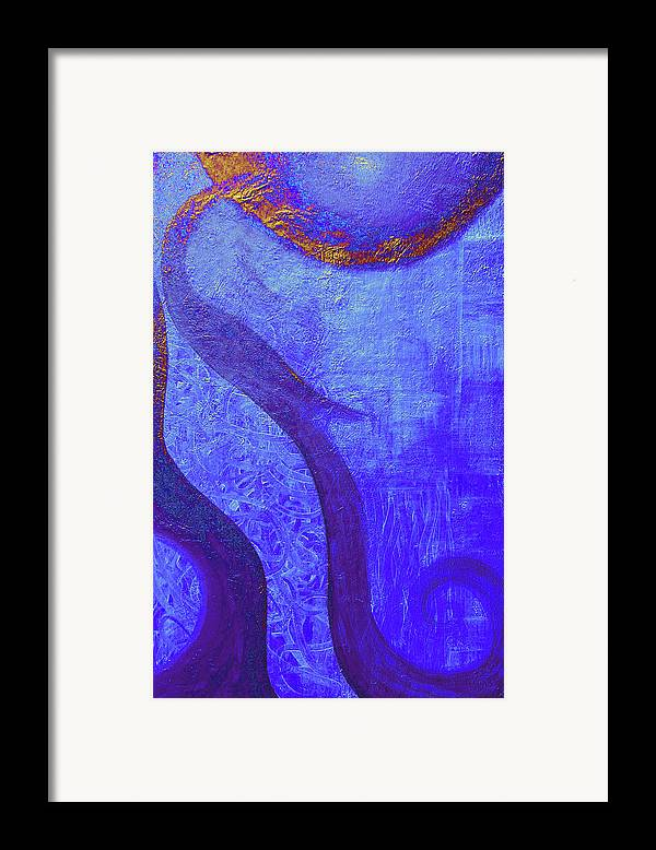 Blue Framed Print featuring the painting Blue Seed by Ishwar Malleret