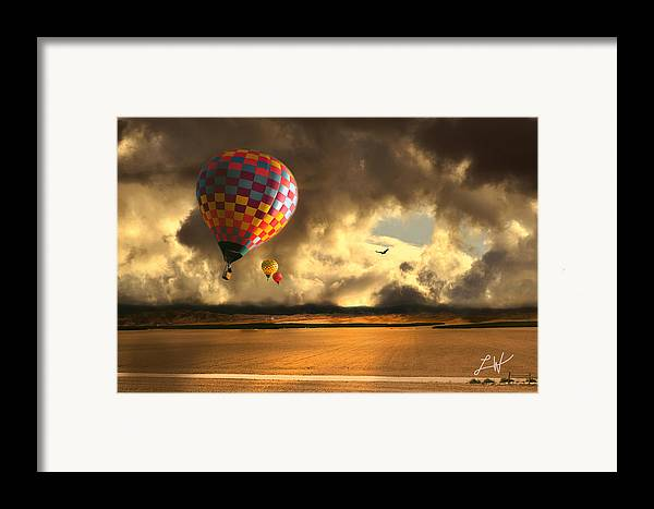 Hot Air Balloon Ride Framed Print featuring the photograph Blue Skies Ahead by Artist and Photographer Laura Wrede