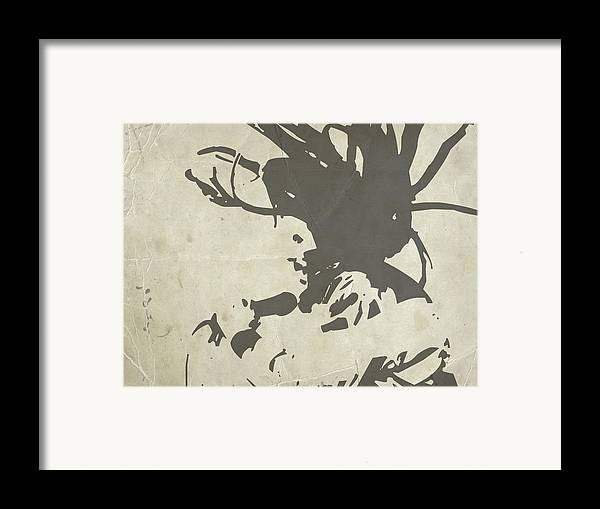 Bob Marley Framed Print featuring the painting Bob Marley Grey by Naxart Studio