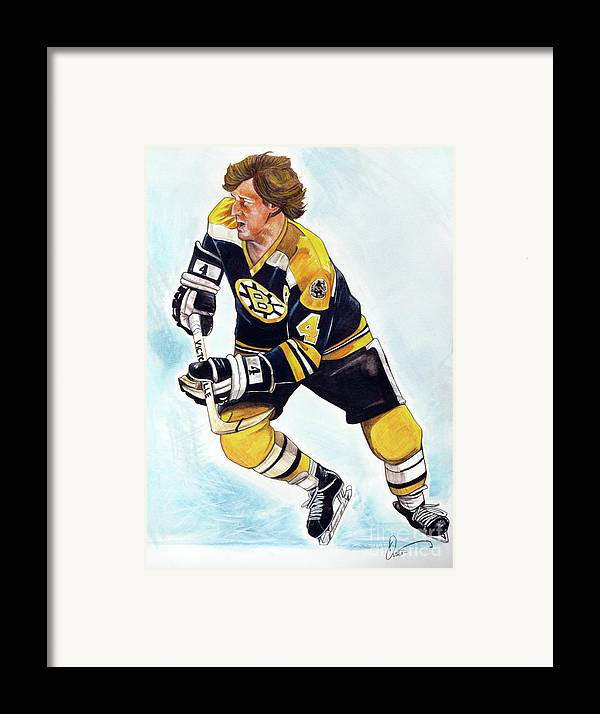 Bruins Framed Print featuring the painting Bobby Orr by Dave Olsen