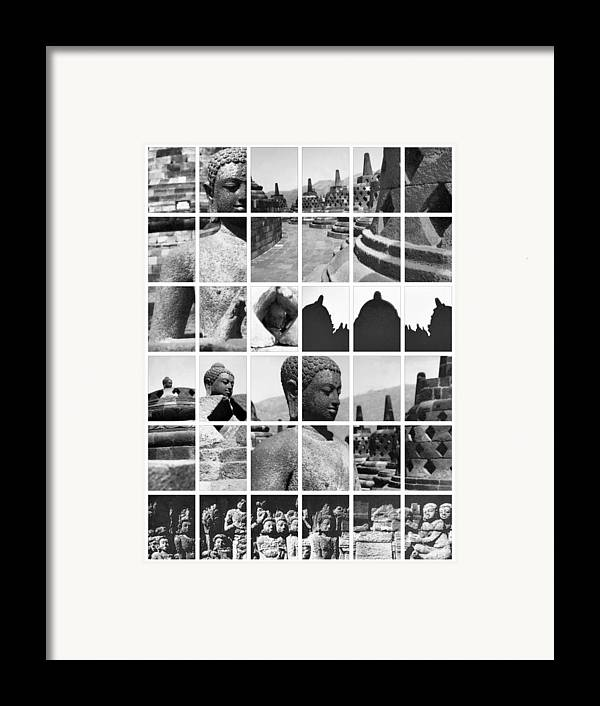 Image Framed Print featuring the photograph Borobudur In Frame by Mario Bennet