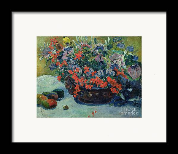 Bouquet Framed Print featuring the painting Bouquet Of Flowers by Paul Gauguin