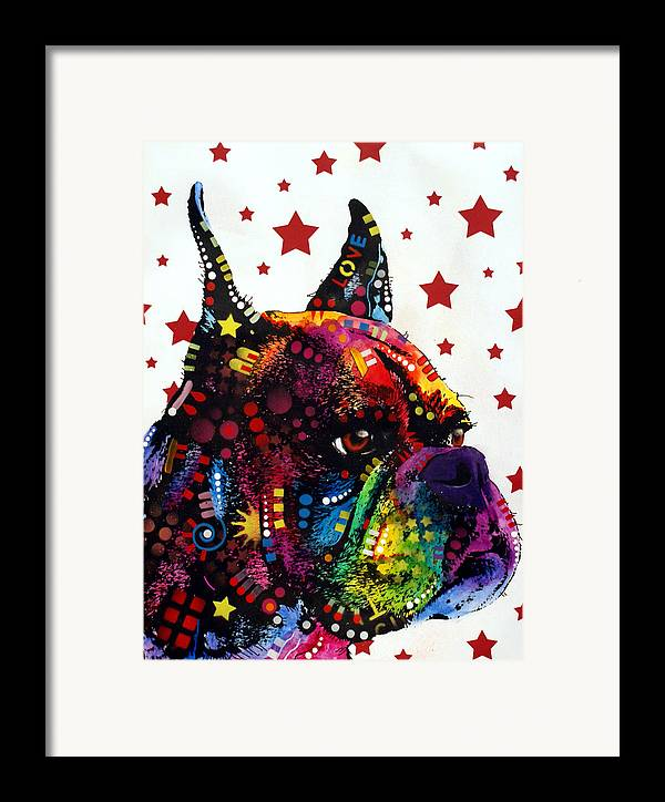 Boxer Framed Print featuring the painting Boxer Love by Dean Russo
