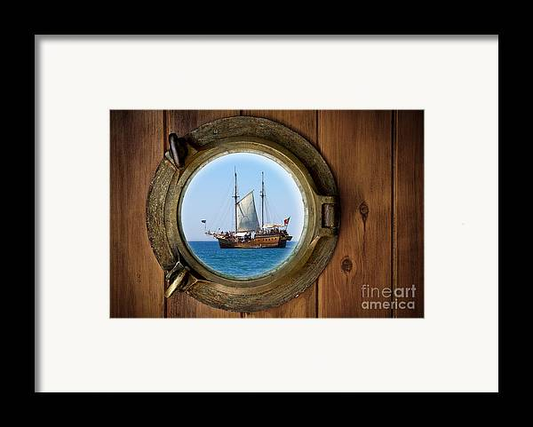 Aged Framed Print featuring the photograph Brass Porthole by Carlos Caetano