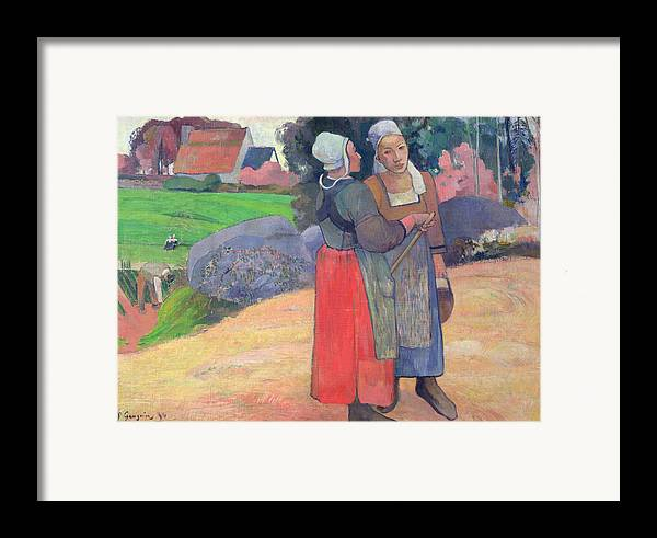 Breton Peasants Framed Print featuring the painting Breton Peasants by Paul Gauguin