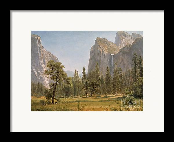 Bridal Framed Print featuring the painting Bridal Veil Falls Yosemite Valley California by Albert Bierstadt