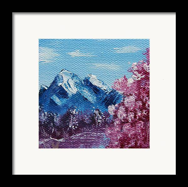 Wonderous Framed Print featuring the painting Bright Blue Mountains by Jera Sky