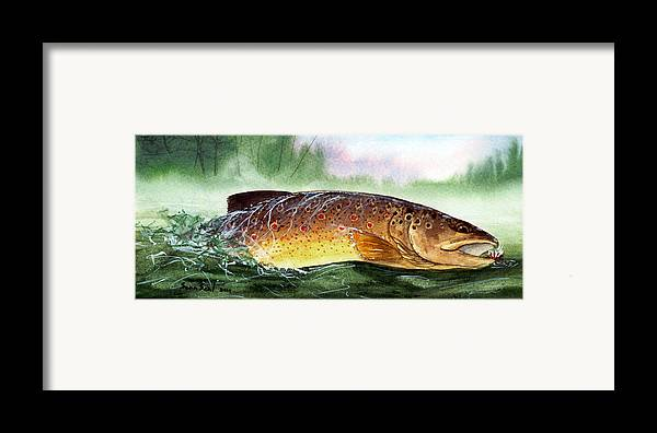 Trout Framed Print featuring the painting Brown Trout Taking A Fly by Sean Seal