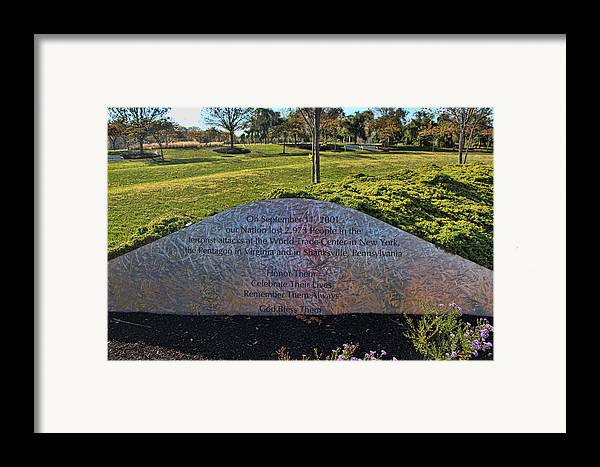 Bucks county p a 9 11 memorial framed print by allen beatty for Craft shows in bucks county pa