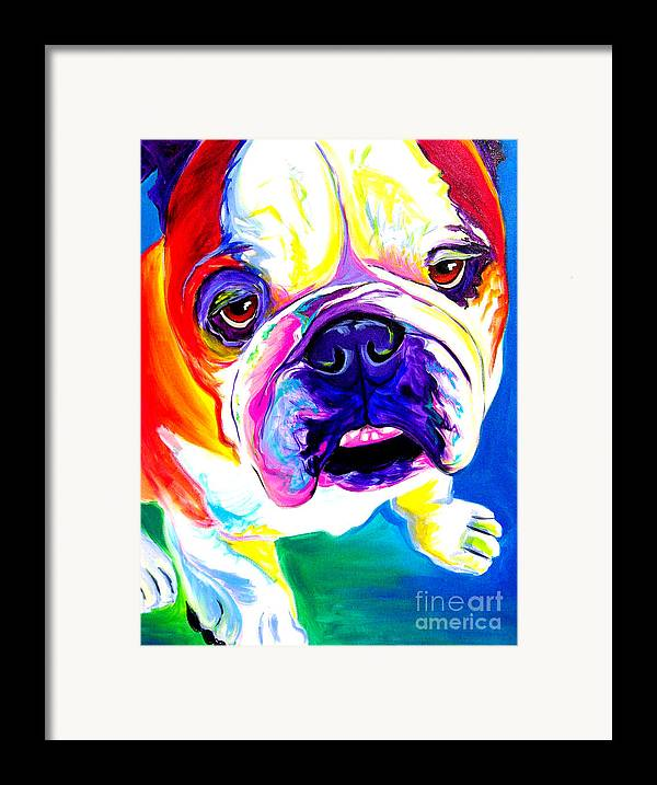 English Framed Print featuring the painting Bulldog - Stanley by Alicia VanNoy Call