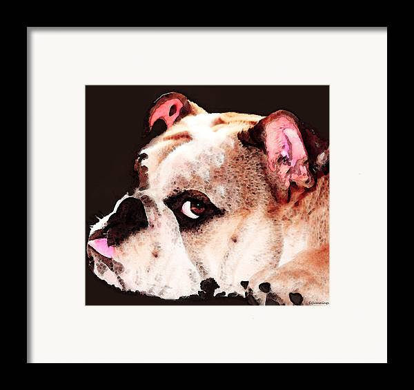 Dog Framed Print featuring the painting Bulldog Art - Let's Play by Sharon Cummings