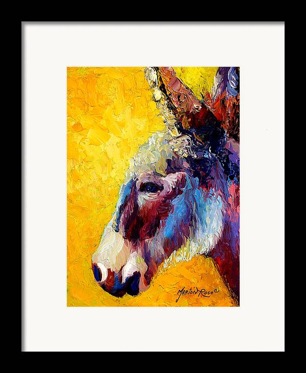 Western Framed Print featuring the painting Burro Study II by Marion Rose