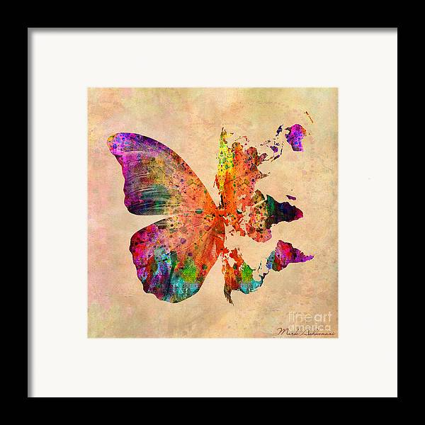 Butterfly Framed Print featuring the digital art Butterfly World Map by Mark Ashkenazi