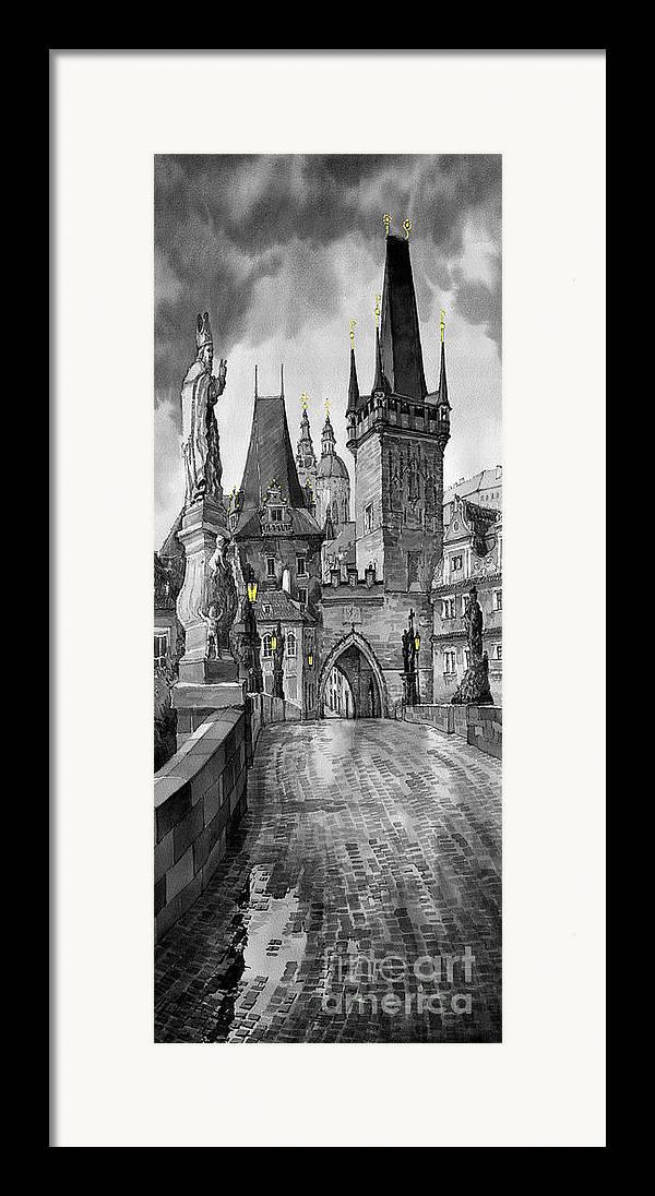 Prague Framed Print featuring the painting Bw Prague Charles Bridge 02 by Yuriy Shevchuk