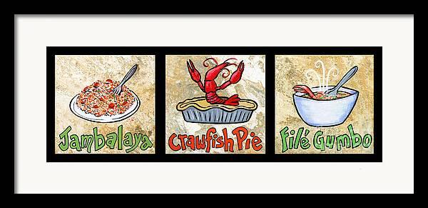 Jambalaya Framed Print featuring the painting Cajun Food Trio by Elaine Hodges