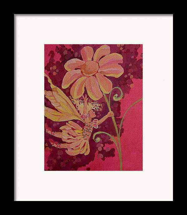 Flower Pink Fairy Child Framed Print featuring the drawing Candy 2 by Jackie Rock
