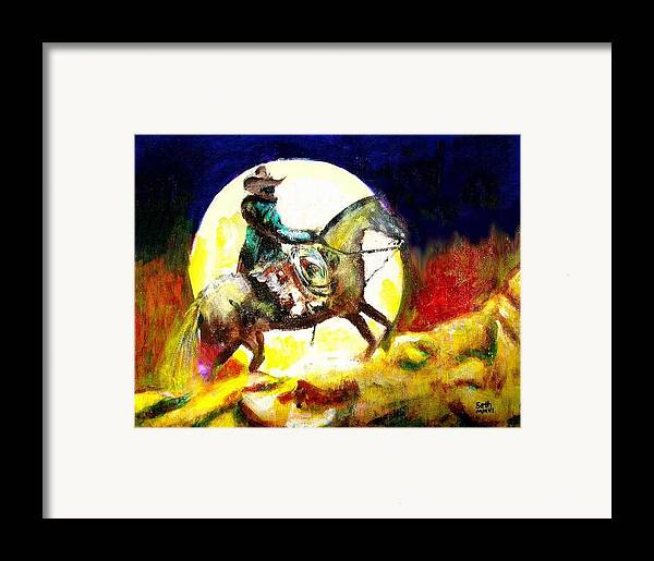 Canyon Moon Framed Print featuring the painting Canyon Moon by Seth Weaver