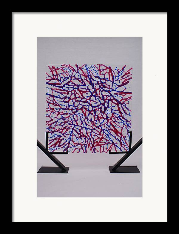 Fused Glass Red Blue Cranberry Royal Net Network Capillaries Stand Standing standing Art Framed Print featuring the glass art Capillaries by Louis Copper