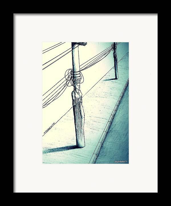 Cariatides Muertas Framed Print featuring the digital art Cariatides Muertas by Paulo Zerbato