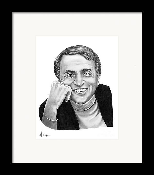 Pencil Framed Print featuring the drawing Carl Sagan by Murphy Elliott