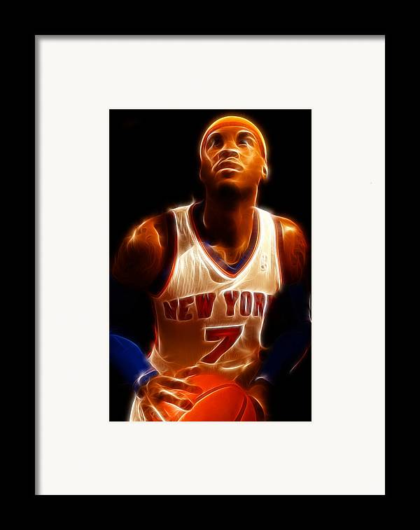 Lee Dos Santos Framed Print featuring the photograph Carmelo Anthony - New York Nicks - Basketball - Mello by Lee Dos Santos