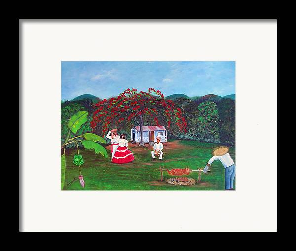 Puerto Rico Fiesta Framed Print featuring the painting Celebration by Gloria E Barreto-Rodriguez