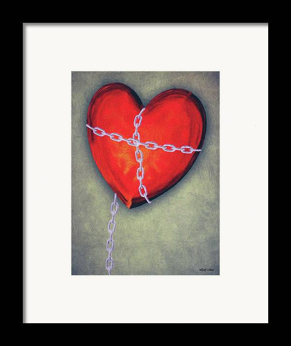 Heart Framed Print featuring the painting Chained Heart by Jeff Kolker