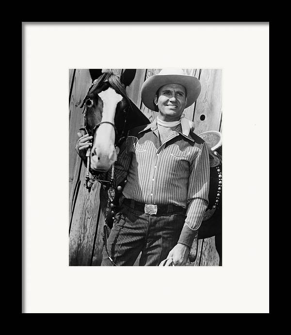 1950s Movies Framed Print featuring the photograph Champion And Gene Autry by Everett