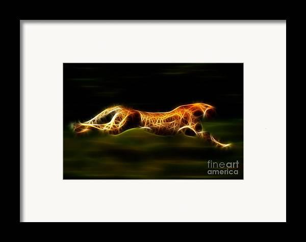 Cheetah Framed Print featuring the mixed media Cheetah Hunting His Prey by Pamela Johnson