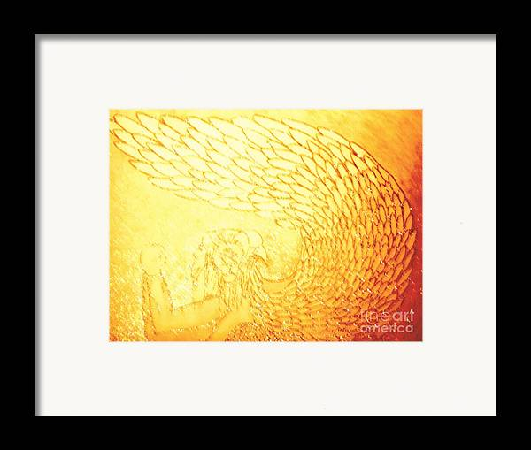 Cherubim Living Creatures Showing Wings Framed Print featuring the painting Cherubim Living Creatures Showing Wings by Daniel Henning
