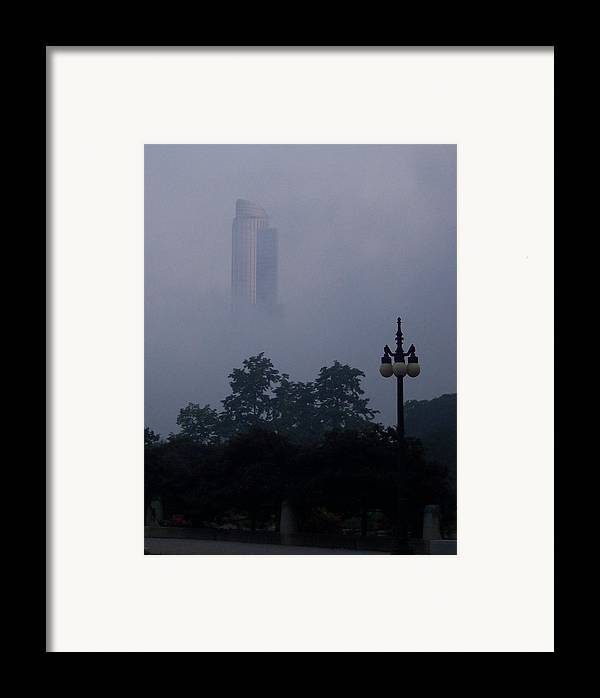 Fog Mist Chicago Evening Architecture City Framed Print featuring the photograph Chicago Mist by Anna Villarreal Garbis