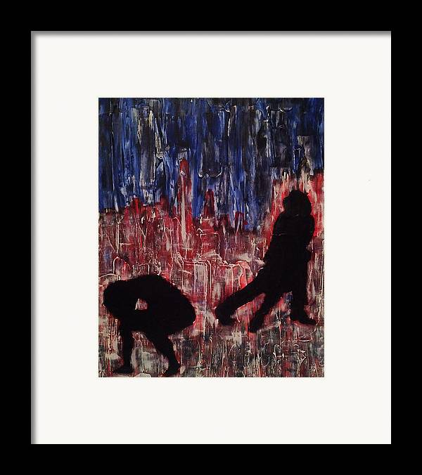 Chicago Painting Framed Print featuring the painting Chicago Skyline Fireworks Agony And The Waltz by M Zimmerman