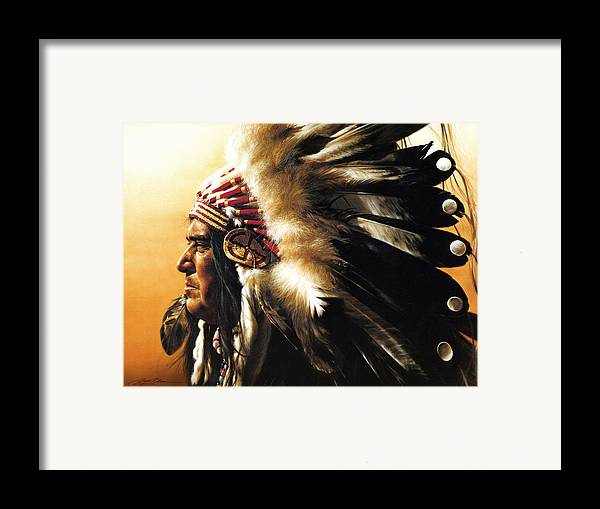 Native American Framed Print featuring the painting Chief by Greg Olsen
