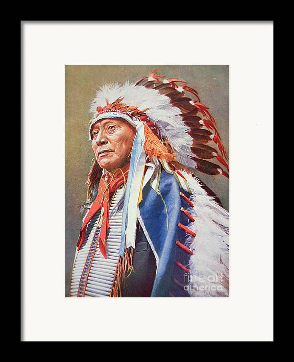 Chief Framed Print featuring the painting Chief Hollow Horn Bear by American School