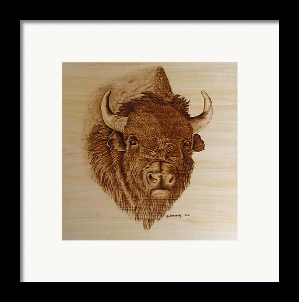 Pyrography Framed Print featuring the pyrography Chief by Jo Schwartz
