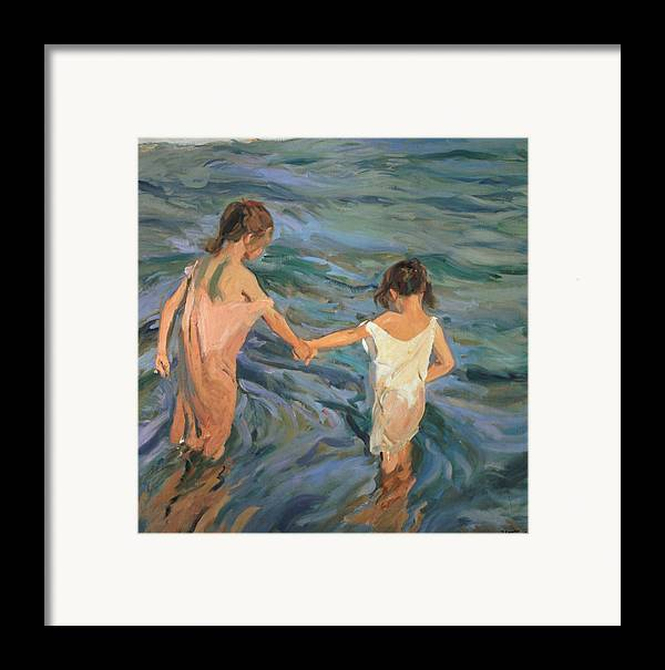 Children Framed Print featuring the painting Children In The Sea by Joaquin Sorolla y Bastida