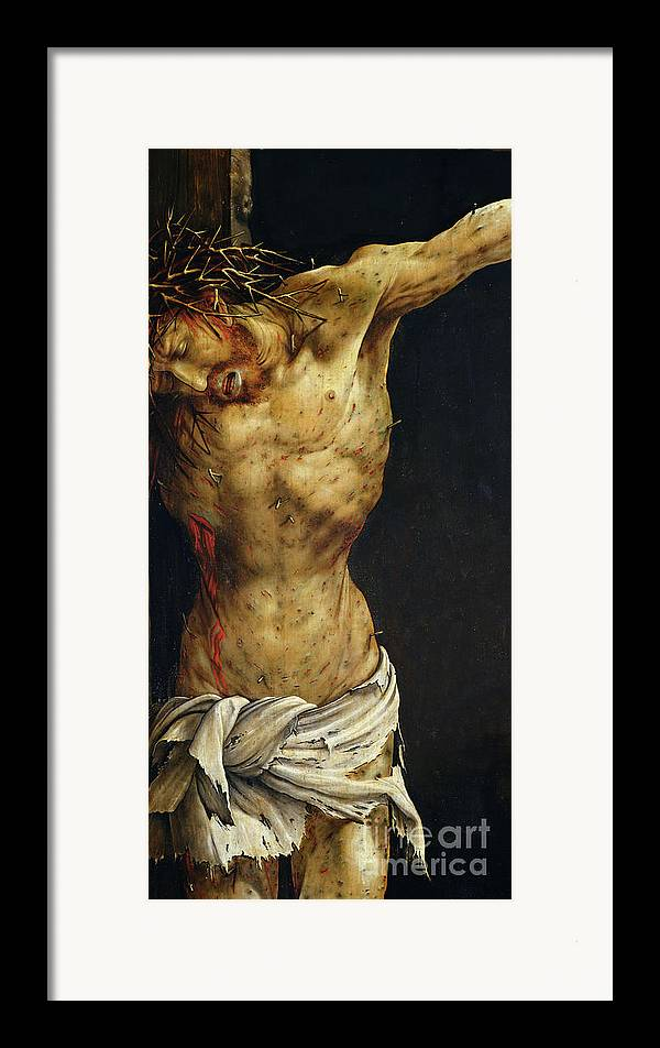 Jesus Framed Print featuring the painting Christ On The Cross by Matthias Grunewald