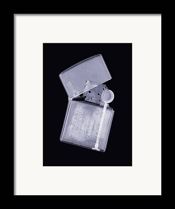 X-ray Framed Print featuring the photograph Cigarette Lighter, Simulated X-ray by Mark Sykes