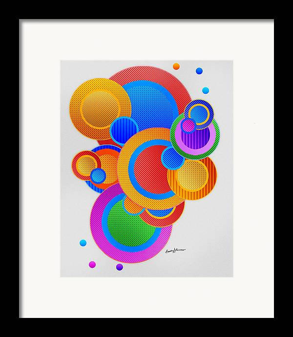 Abstract Framed Print featuring the digital art Circles by Anthony Caruso